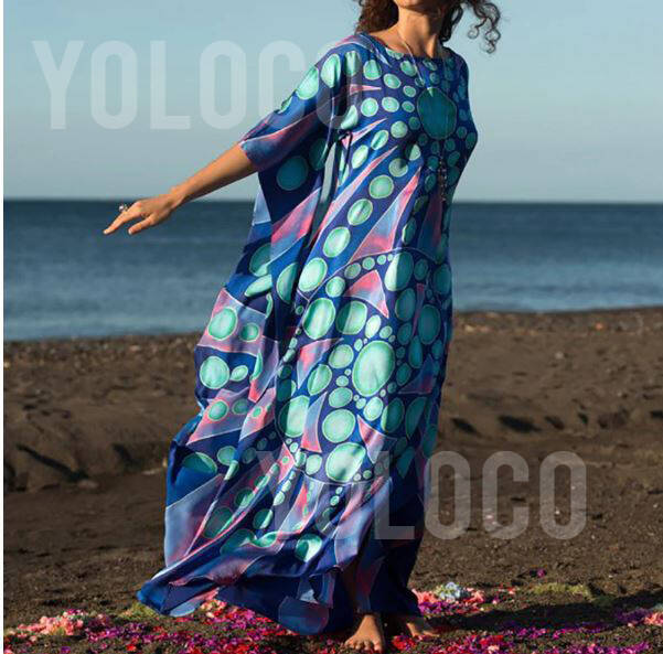 Plus Size Katoenen Strandjurkje BeachDress BluePearl (YBD005)