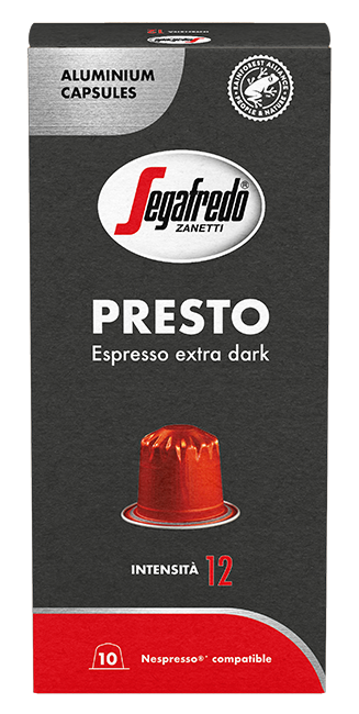 Segafredo Presto extra dark. Intensiteit 12.
