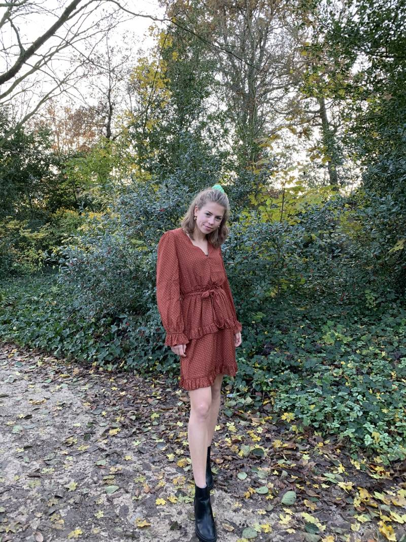 Julie ruffle dress - Red