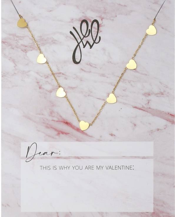 Love hearts necklace goud