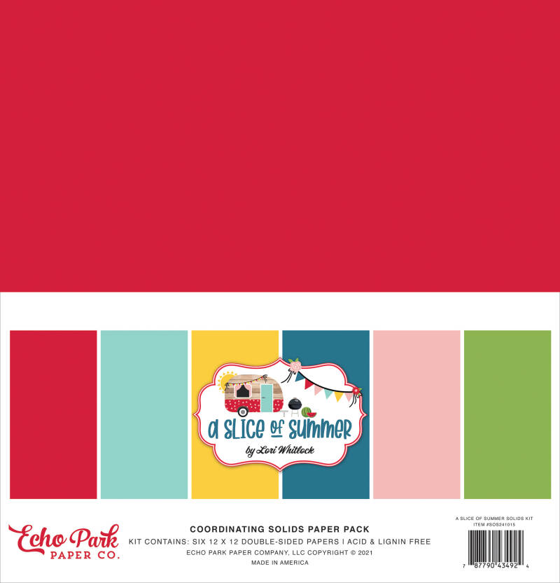 Echo Park A Slice Of Summer 12x12 Inch Coordinating Solids Paper Pack (SOS241015)