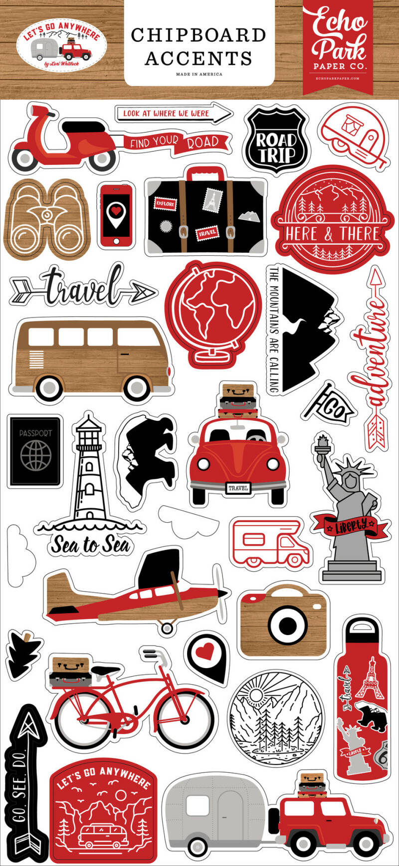 Echo Park Let's Go Anywhere Chipboard Accents (LGA242021)
