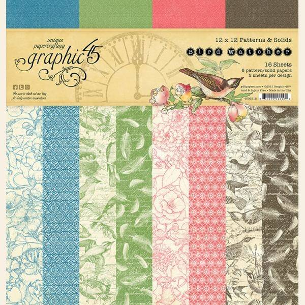 Graphic 45 Bird Watcher Time 12x12 Inch Patterns & Solids Paper Pad
