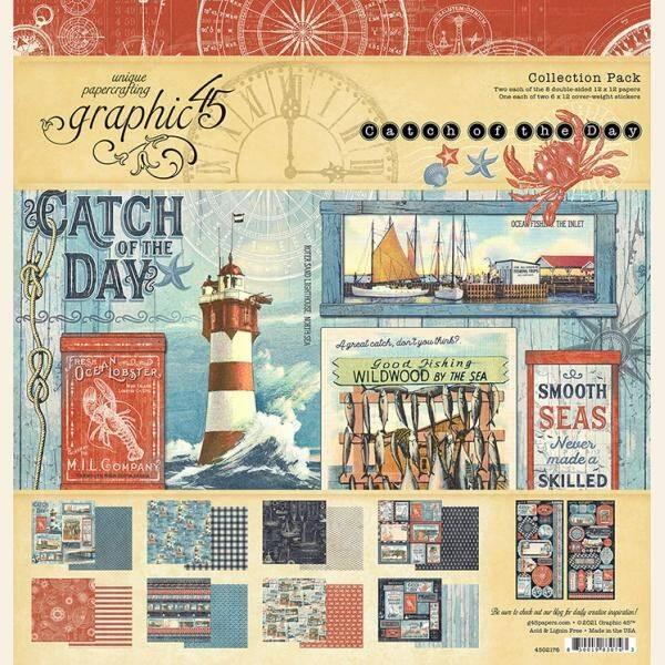 Graphic 45 Catch of the Day 12x12 Inch Collection Pack