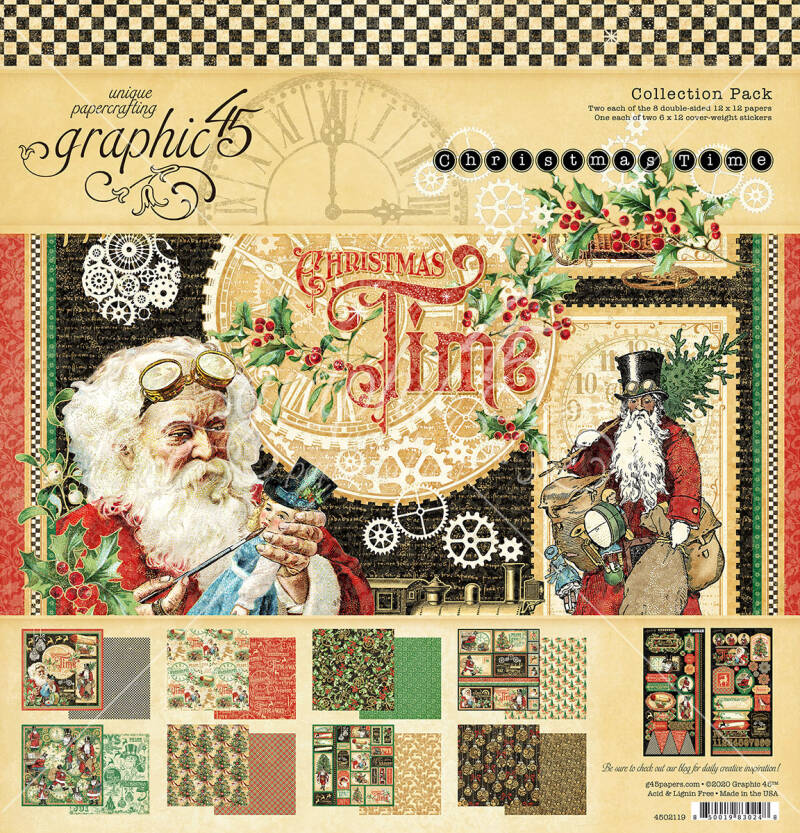 Graphic 45 Christmas Time 12x12 Inch Collection Pack (4502119) incl stickervellen