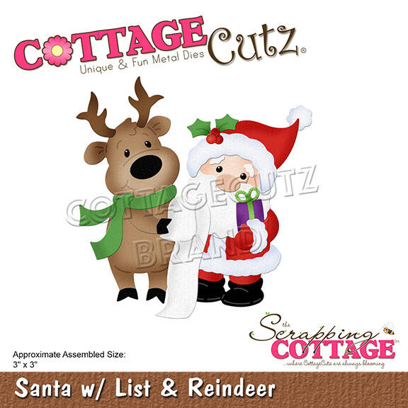 Scrapping Cottage Santa with List & Reindeer (CC-670)