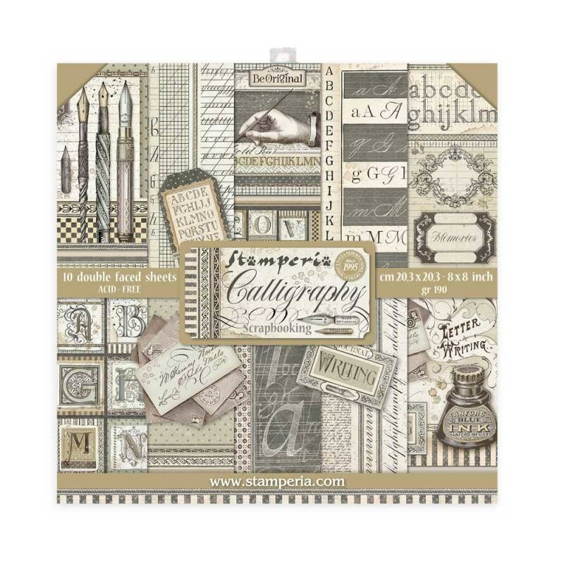 Stamperia Calligraphy 8x8 Inch Paper Pack (SBBS24) Stamperia 8x8 Inch Paper Pack. 20.3x20.3cm.