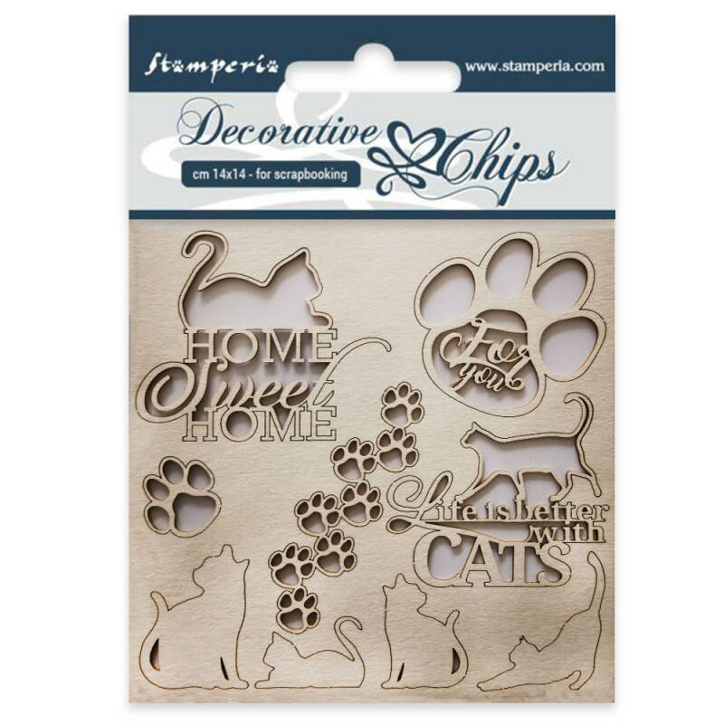 Stamperia Decorative Chips Cats (SCB26) Decorative Chips. 14.5x14.5cm.