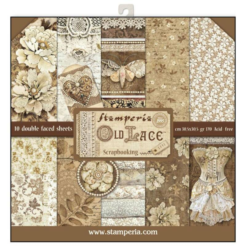 Stamperia Old Lace 12x12 Inch Paper Pack (SBBL32)  30.5x30.5cm.