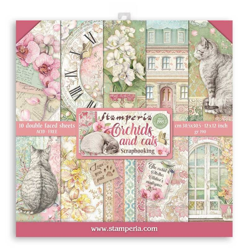 Stamperia Orchids and Cats 12x12 Inch Paper Pack (SBBL81) Stamperia 12x12 Inch Paper Pack. 30.5x30.5cm.