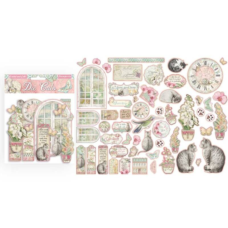 Stamperia Orchids and Cats Die Cuts (DFLDC26) Die cuts assorted 55pcs.