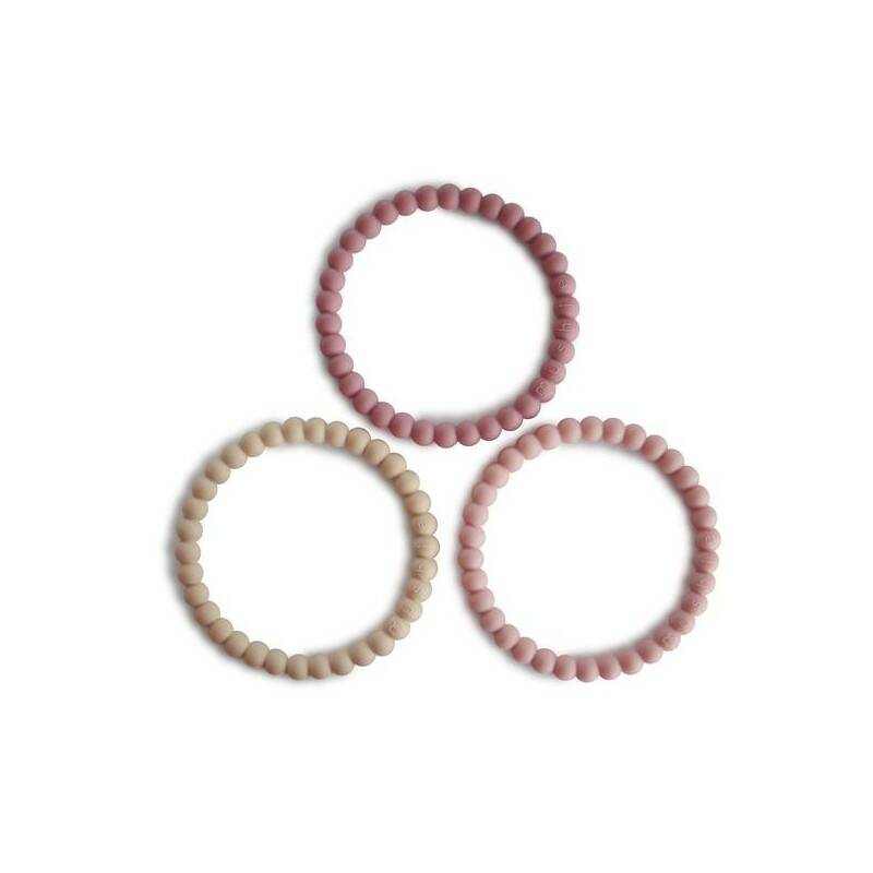 Siliconen bijtring beads - linen/peony/pale pink (3st)