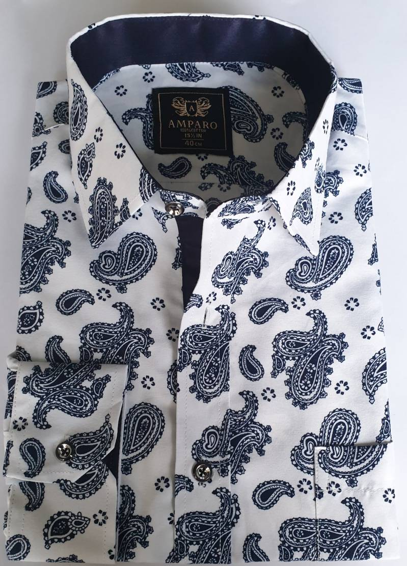 Comfort fit overhemd paisley wit