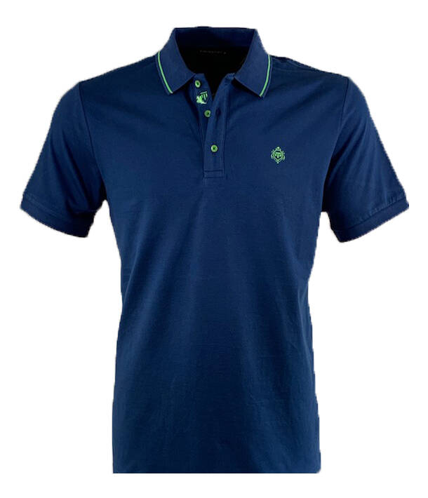 Polo stretch pique blauw
