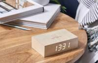 Flip Click Clock Maple / LED White