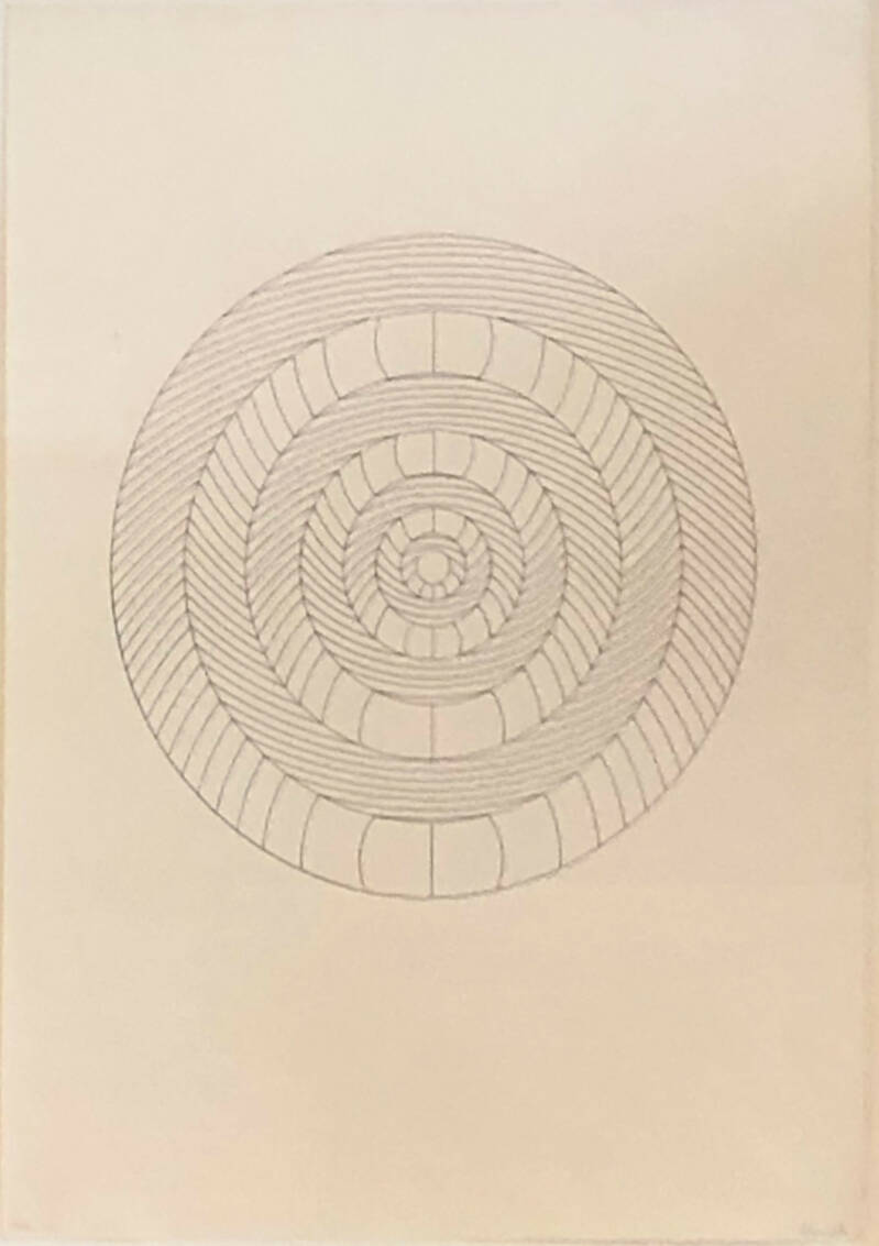 Erwin Heerich Lithografie 'Composition with circles' ~1970 Gesigneerd