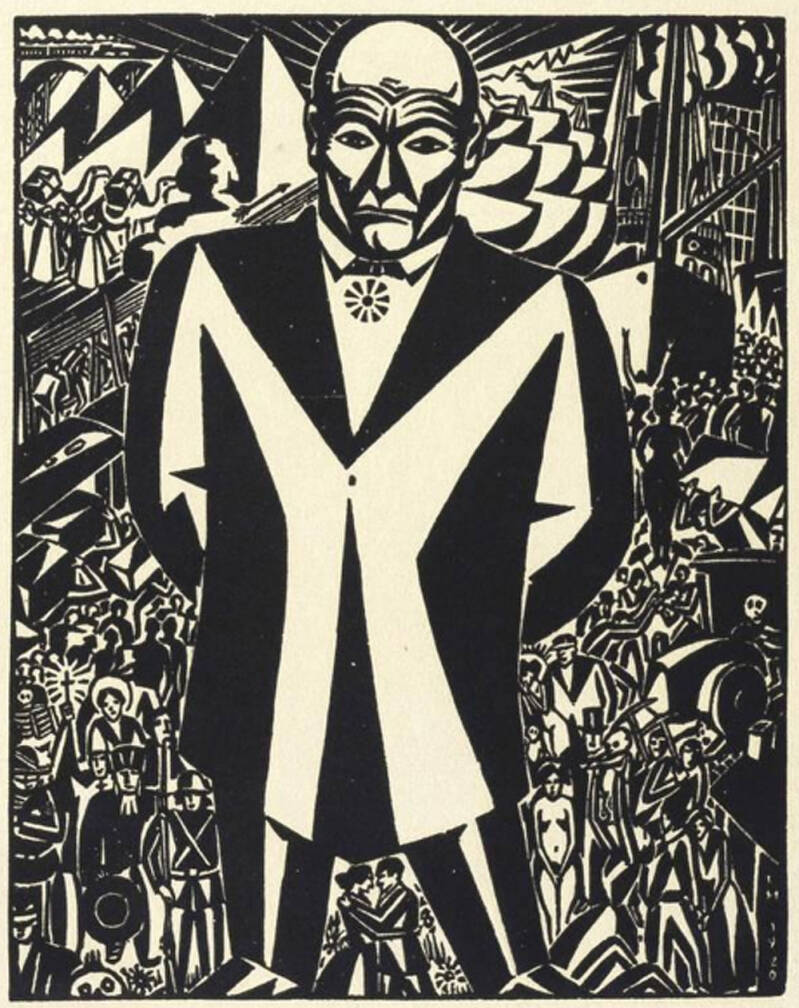 Frans Masereel Houtsnede 'Business Man' 1920