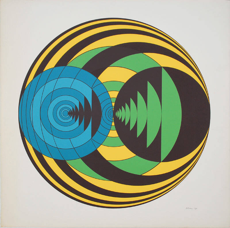 Ronald Abram Kleurenlithografie 'Composition with circles' ~1965 Gesigneerd