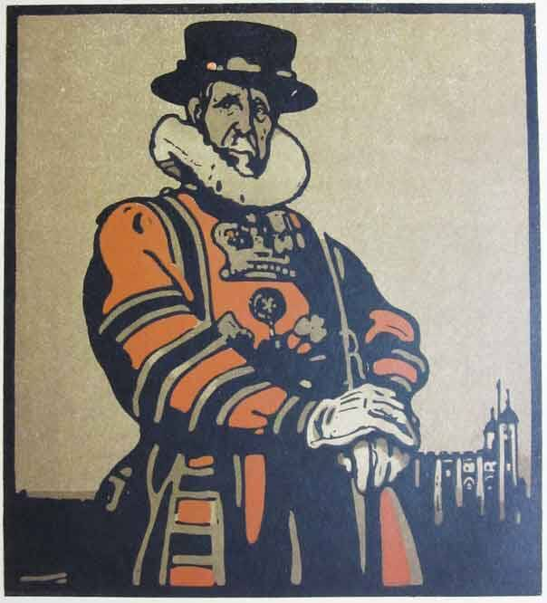 Sir William Nicholson Kleurenhoutsnede + lithografie 'Beefeater' 1898