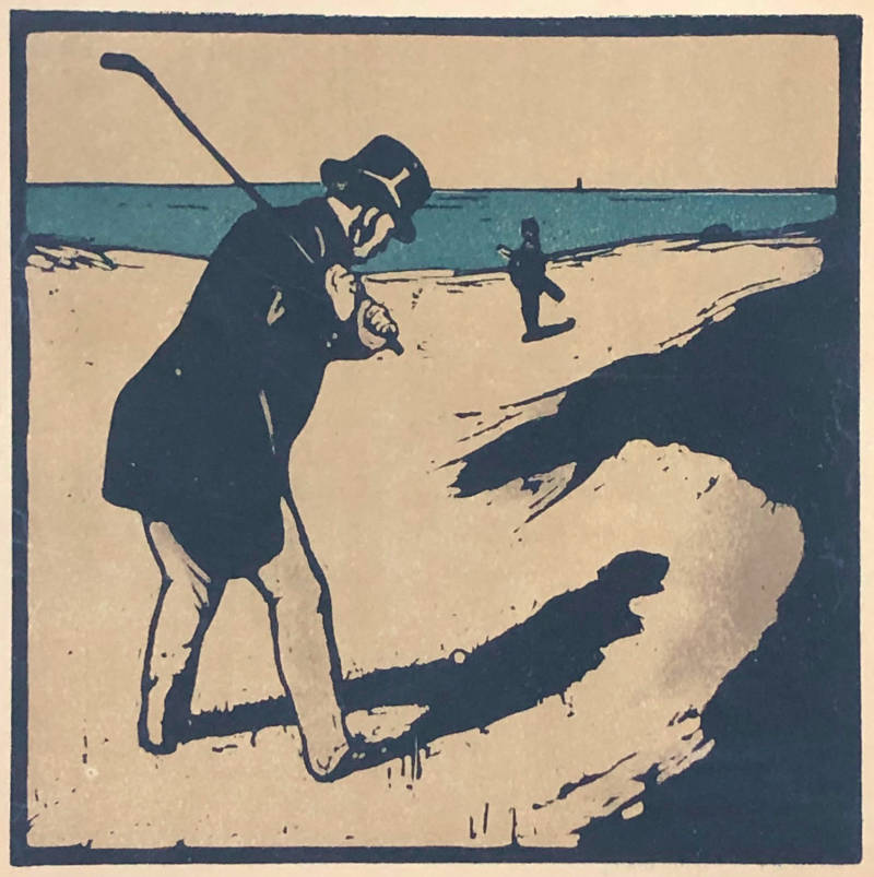 Sir William Nicholson Kleurenhoutsnede 'Golf' 1898