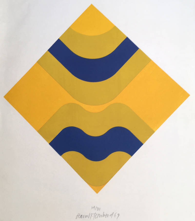 Unknown artist  Kleurenhoutsnede 'Composition with yellow and blue' 1969  Gesigneerd