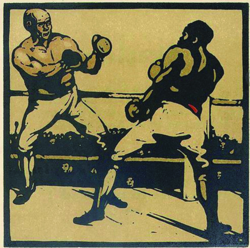 William Nicholson Kleurenhoutsnede + lithografie 'Boxers' 1898
