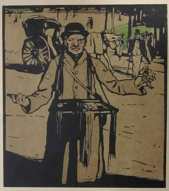 Sir William Nicholson Kleurenhoutsnede 'Hawker in Kensington' 1898