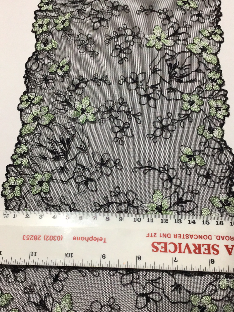 Black with lime green flowers