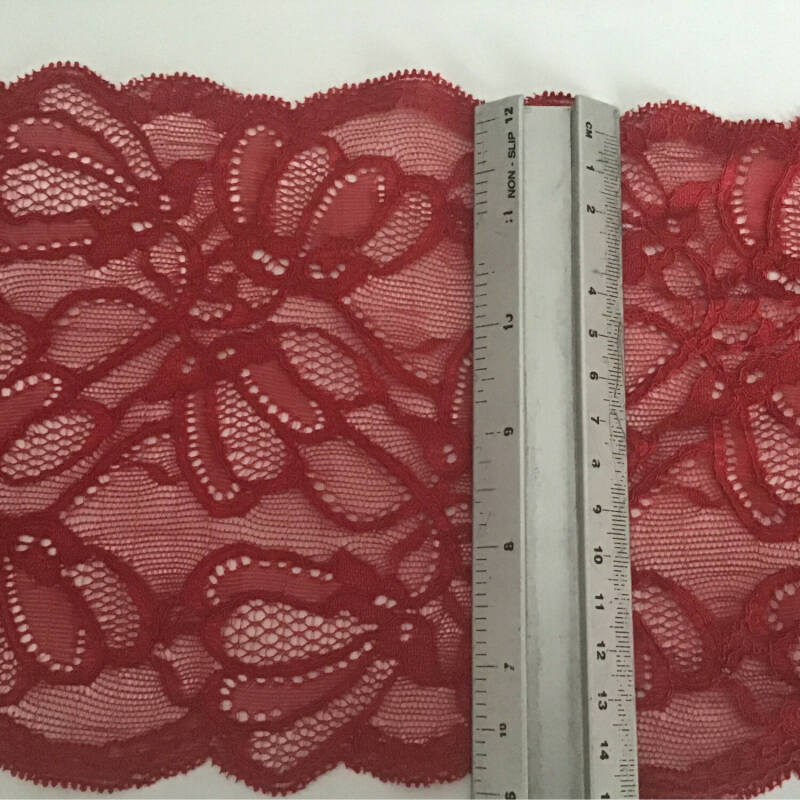 Cardinal red stretch lace