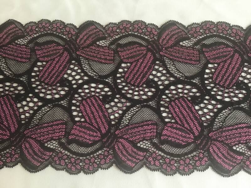 Black with cerise bows