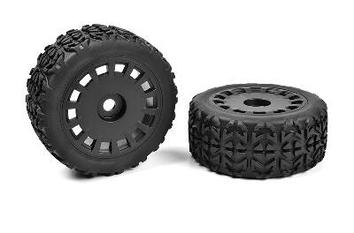 Team Corally - Off-Road 1/8 Truggy Tires - Tracer - Glued on Black Rims - 1 pair C-00180-613