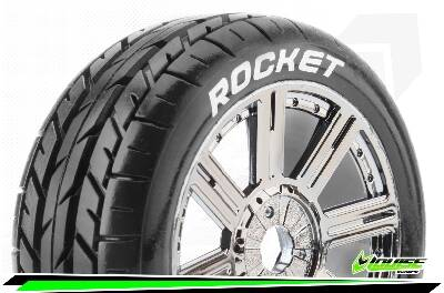Louise RC - B-ROCKET - 1-8 Buggy Bandenset - Soft - Spaakvelgen Zwart-Chrome - 17mm wielmeenemer