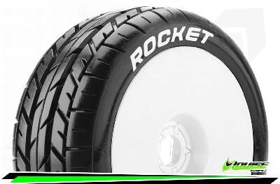 Louise RC - B-ROCKET - 1-8 Buggy Bandenset - Soft - Velgen Wit - 17mm wielmeenemer