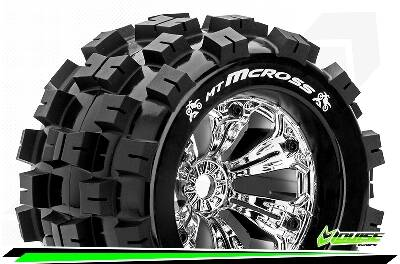 Louise RC - MT-MCROSS - 1/8 Monster Truck Bandenset - Velgen 3.8 Chrome - 1/2-Offset - 17mm wielmeenemer