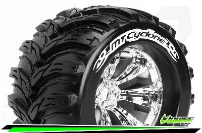 Louise RC - MT-CYCLONE - 1/8 Monster Truck Bandenset -  Velgen 3.8 Chrome - 0-Offset - 17mm wielmeenemer