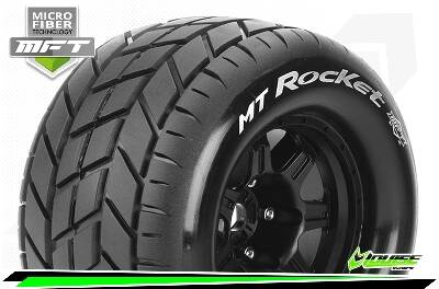 Louise RC - MFT - MT-ROCKET - 1/8 Monster Truck Bandenset - 3.8 Bead Style Velgen Zwart - 0-Offset - 17mm wielmeenemer