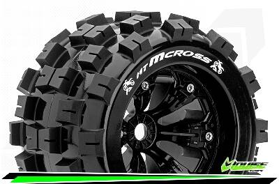 Louise RC - MT-MCROSS - 1/8 Monster Truck Bandenset -  Velgen 3.8 Zwart - 1/2-Offset - 17mm wielmeenemer
