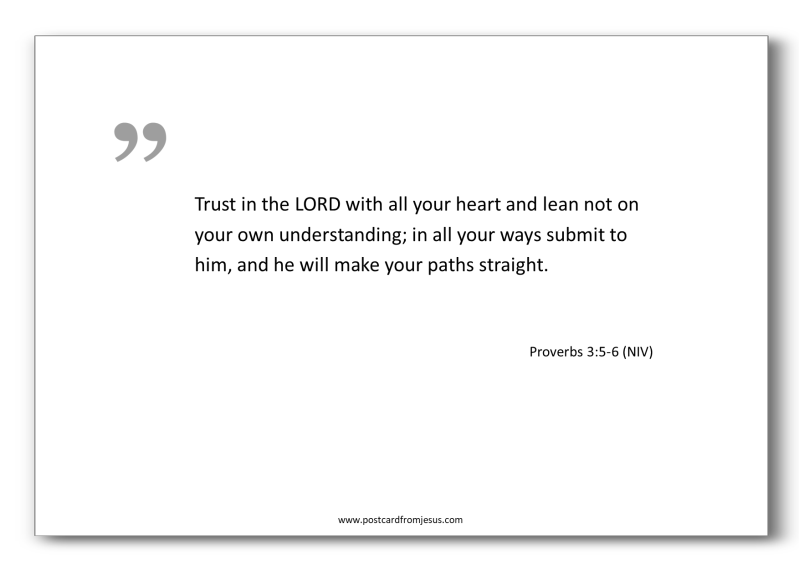 1505 - Trust in the LORD with all your heart and lean not on your own understanding; in all your ways submit to him, and he will make your paths straight. Proverbs 3:5-6 (NIV)