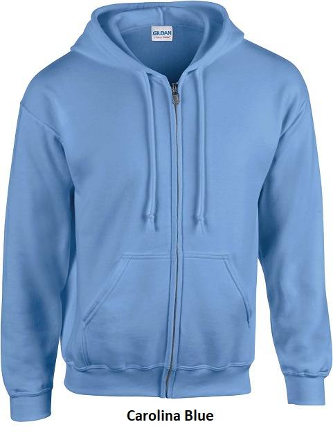 Hooded Zip kleur Carolina Blue