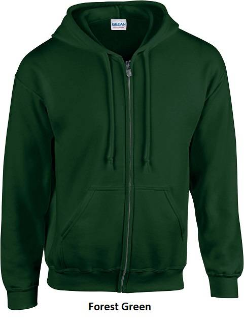 Hooded Zip kleur Forest Green
