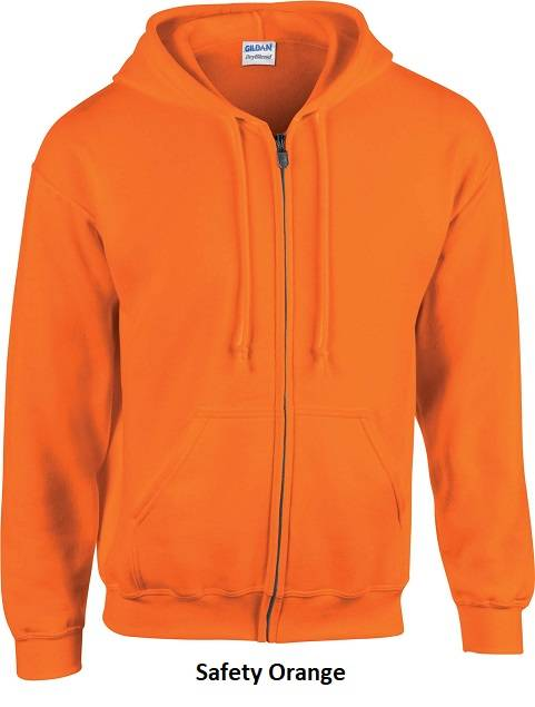 Hoode Zip kleur Safety Orange