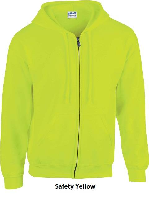 Hooded Zip kleur Safety Yellow