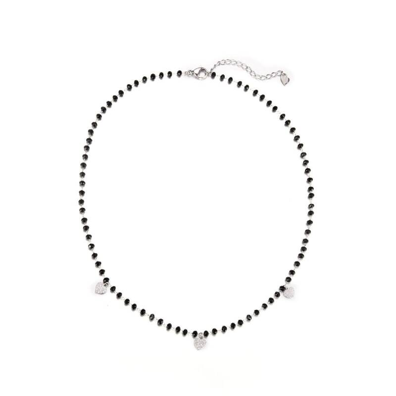 NECKLACE - BLACK PEARLS WITH HEARTS