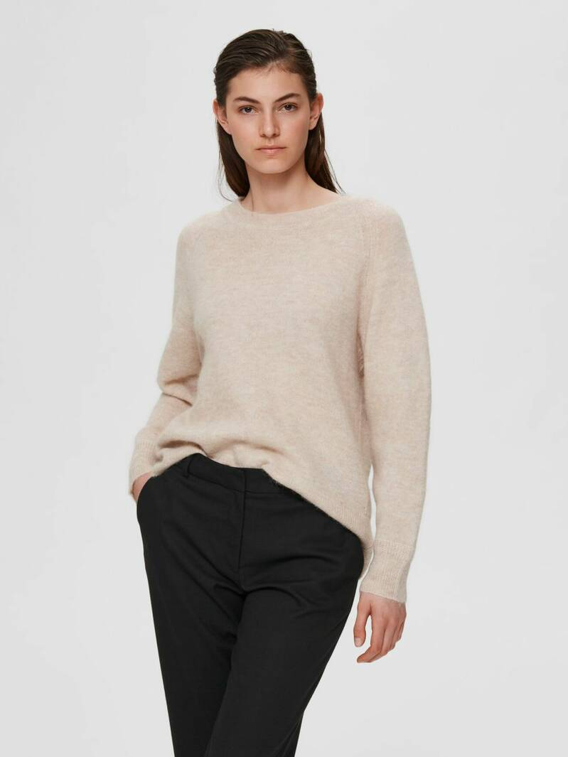 Selected Femme - Wollen ronde hals sweater