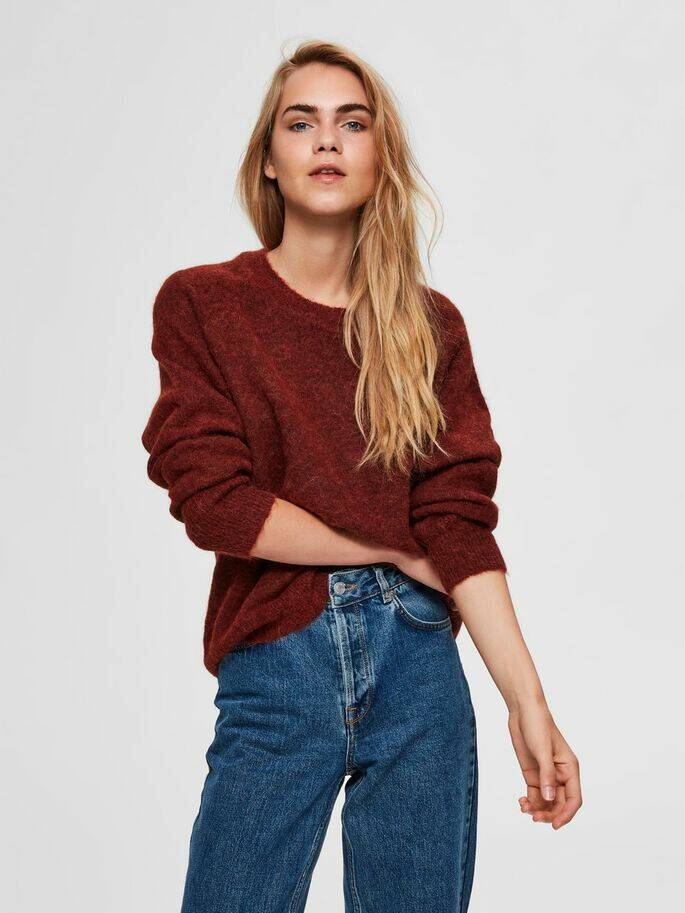 Selected Femme - Wol ronde hals trui roodbruin
