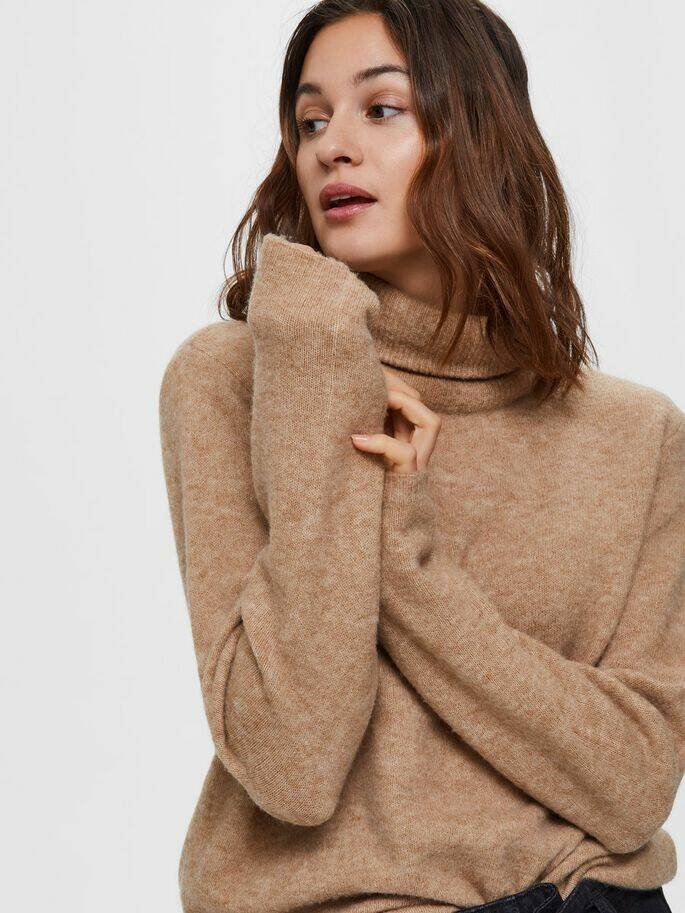 Selected Femme - col trui camel