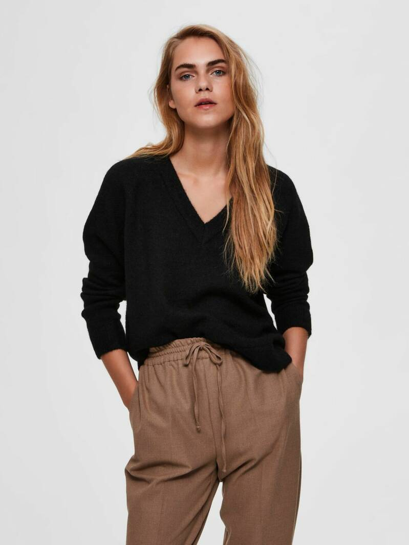 Selected Femme - V-hals wolmix sweater