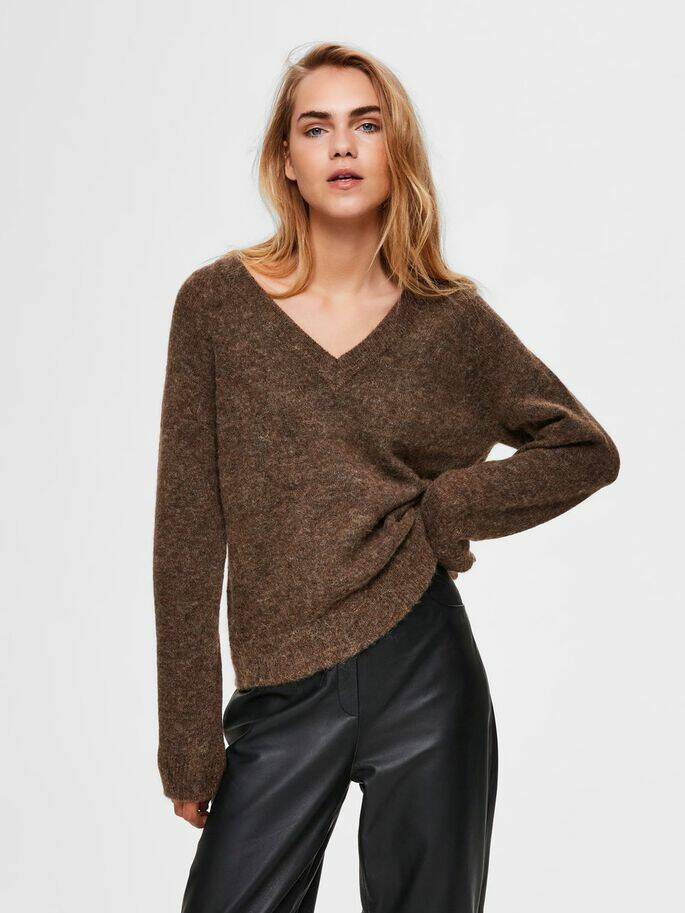 Selected Femme - V-hals wolmix trui