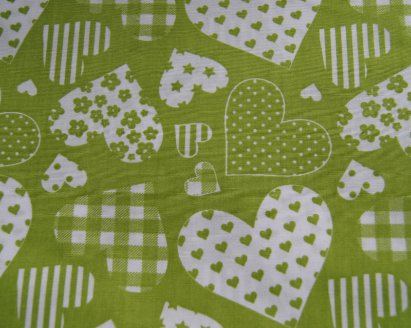 Patche work hartjes  - Lime groen -