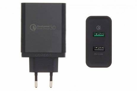Ugreen 2-Poorts Wall Charger met QC 3.0 Technology 5,4 ampère - Zwart
